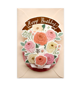 Happy Birthday Flower Pink Pot Pop Up Greeting Card