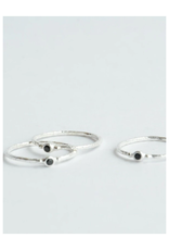 Tiny Black Stone Stacking Rings