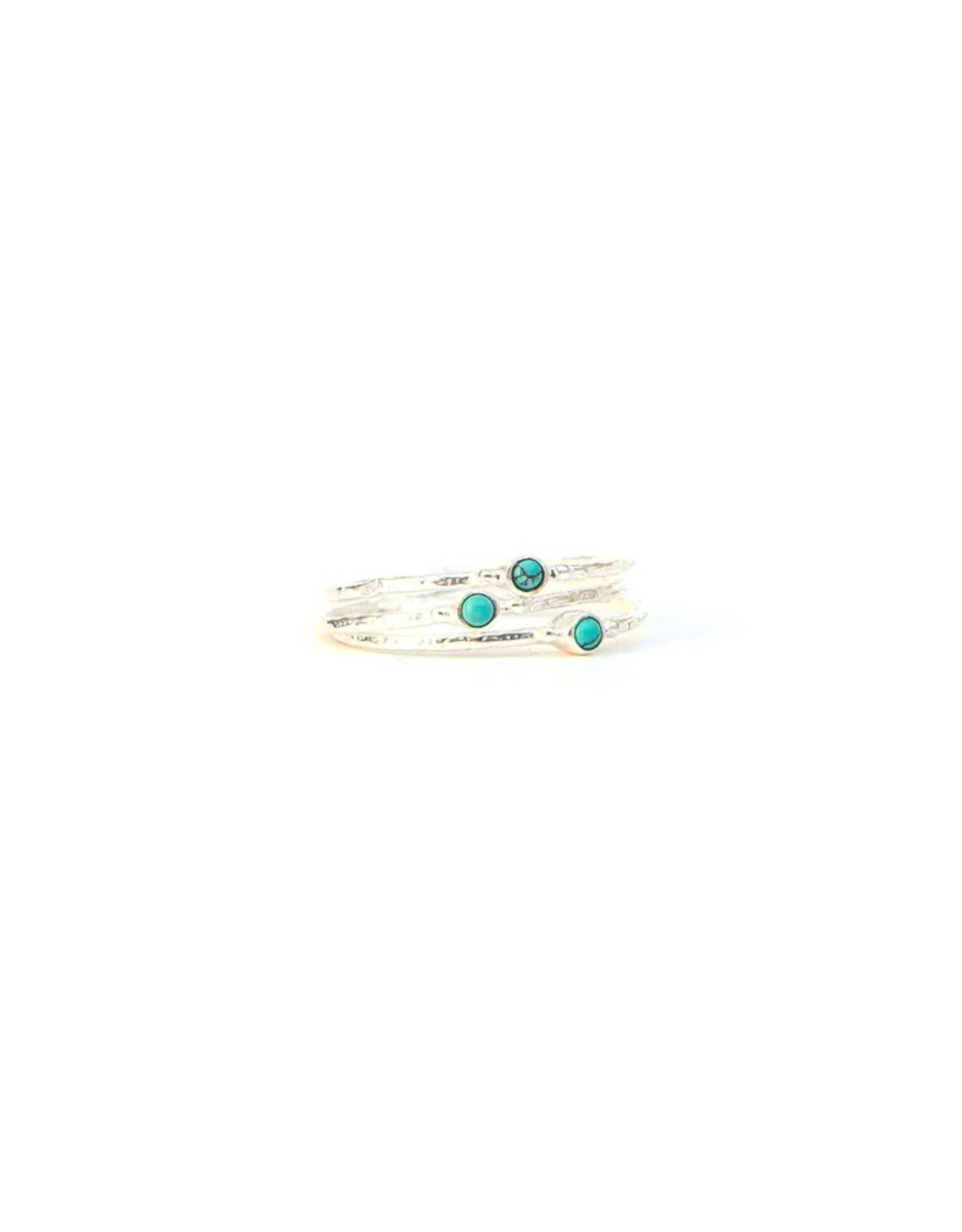 Tiny Turquoise Stone Stacking Rings