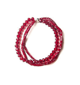 Sparkle Glass Elastic Bracelet - Red