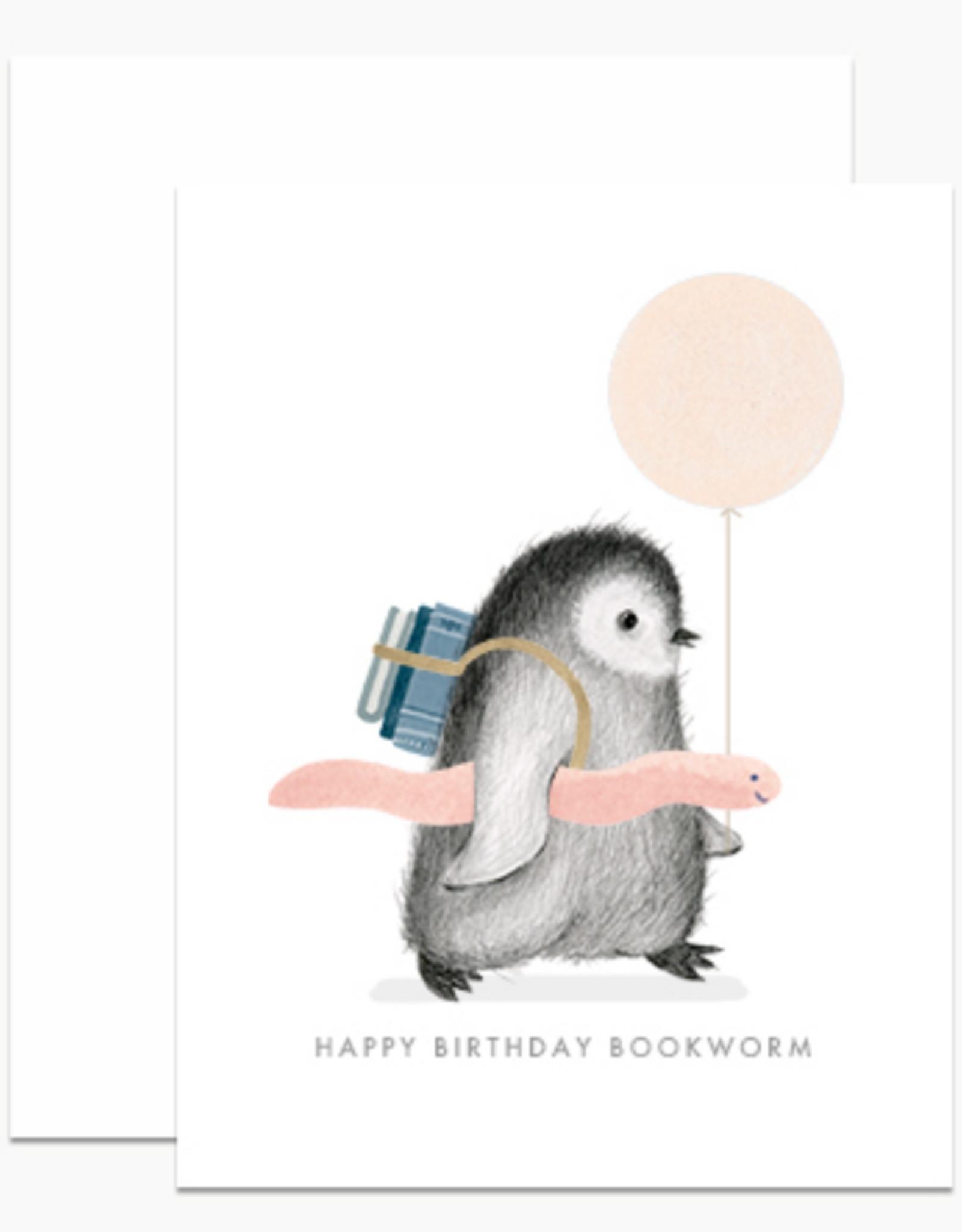 Happy Birthday Bookworm (Penguin) Greeting Card