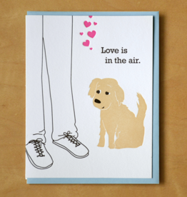 Love Is In The Air Dog & Leg Greeting Card