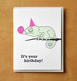 Birthday Chameleon Greeting Card