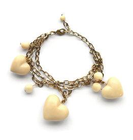Modern 3D Heart Bracelet w/Gold Chain