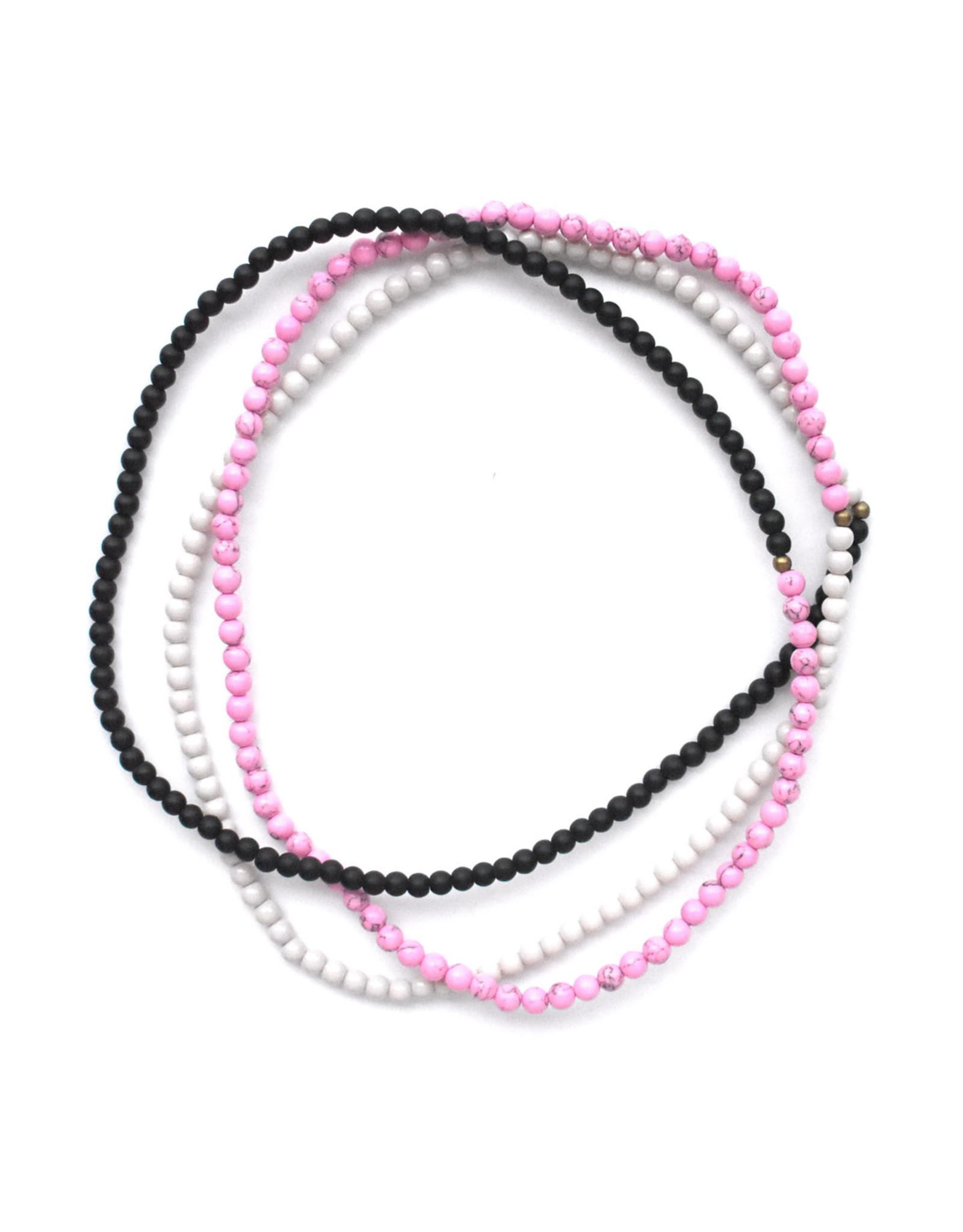 Saam Block Necklace - Black, Cream & Magenta