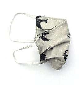 Pleated Cloth Face Mask -  Grey Birds
