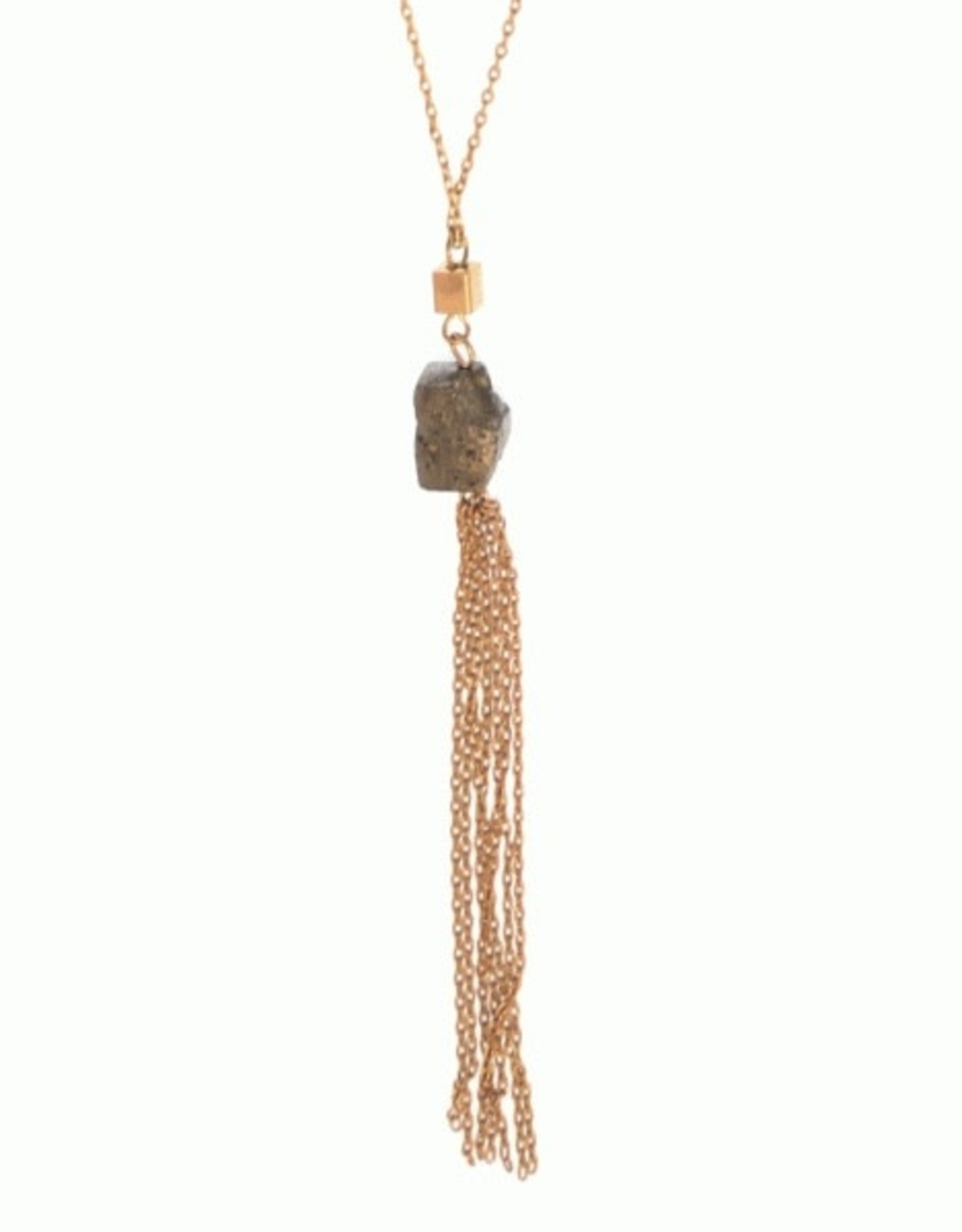 Worn Gold & Stone Tassel Necklace