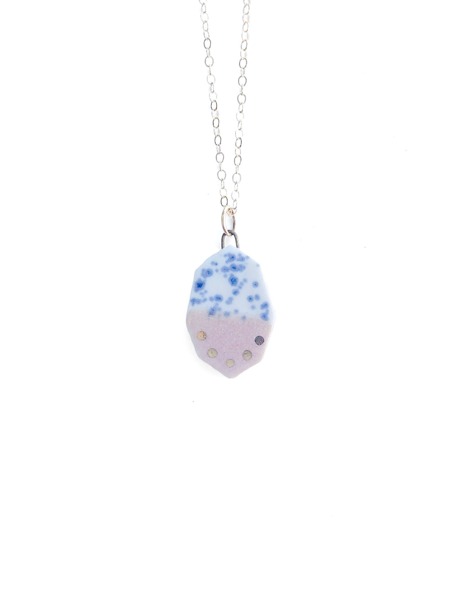 Small Geometric Necklace -  Gold/Rhubarb/Blue Splatter