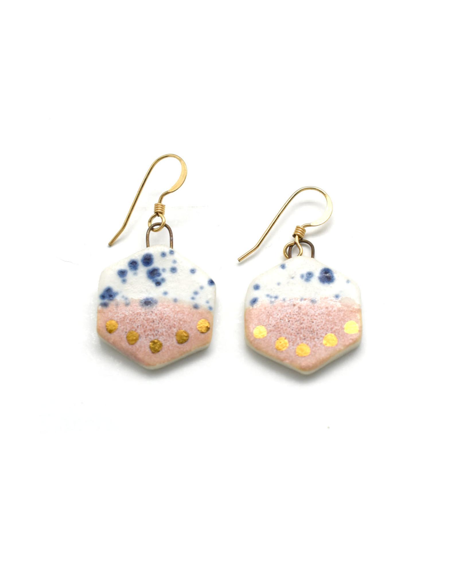 Small Hexagon Earrings - Gold/Rhubarb/Blue Speckle