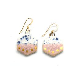 Small Hexagon Earrings - Gold/Rhubarb/Blue Speckle