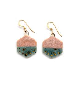 Small Hexagon Earrings - Gold/Rhubarb/Shipwreck