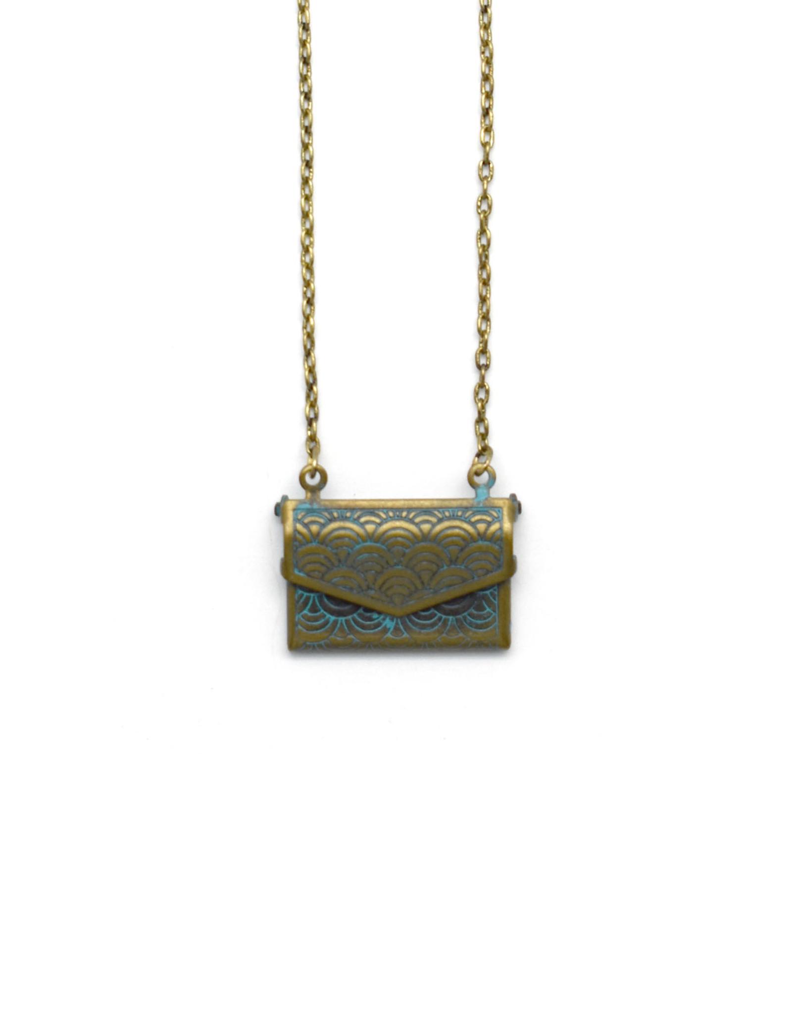 Blue Scalloped Envelope Necklace