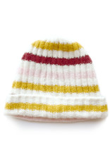 Soft Ribbed Stripe Hat Pink/Mustard