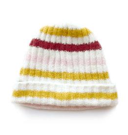 Soft Ribbed Stripe Hat Pink/Mustard
