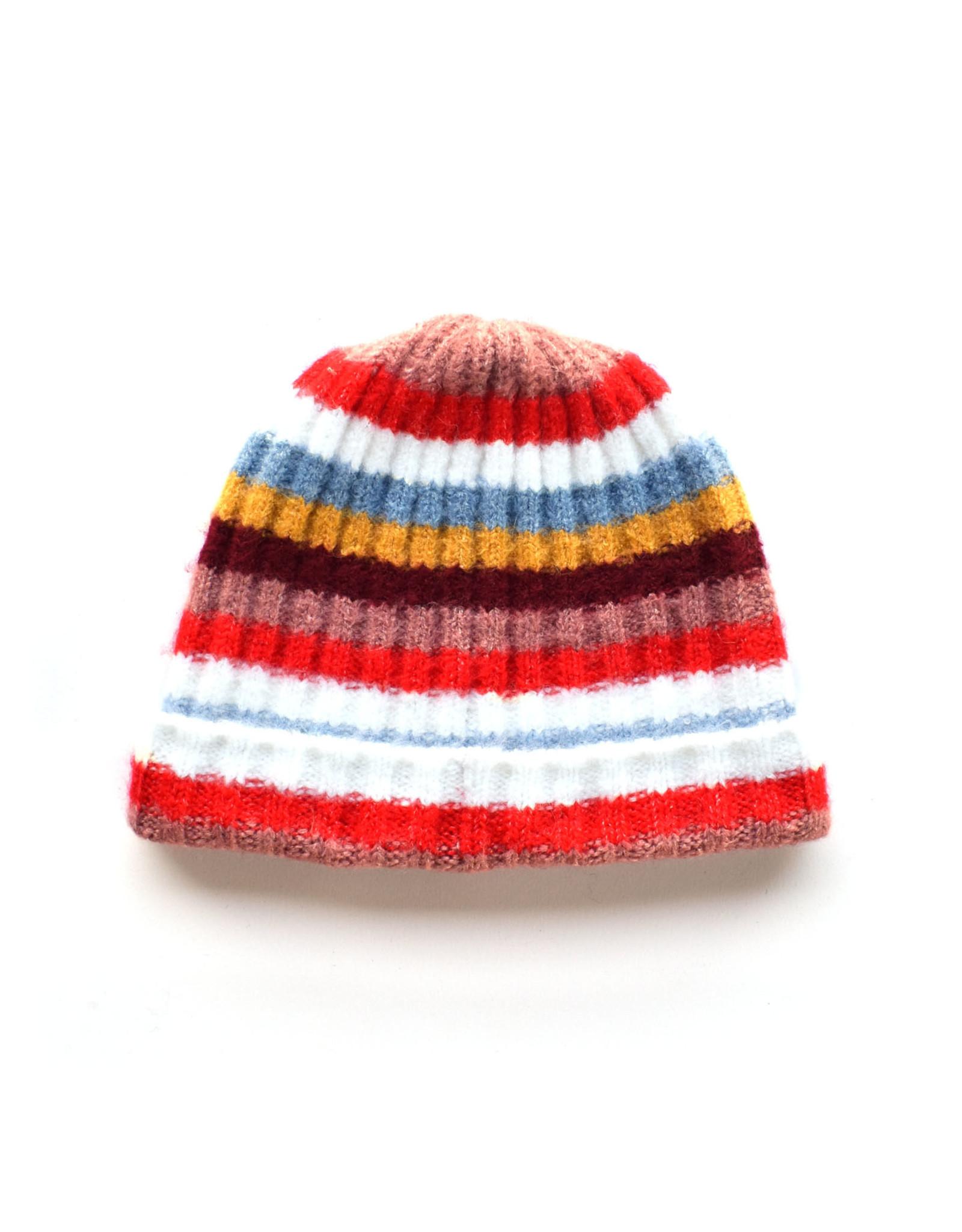 Soft Ribbed Stripe Hat - Red Multi
