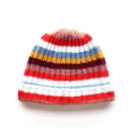 Soft Ribbed Stripe Hat - Red Multi