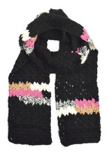 Melange Hand Crochet Scarf -  Black