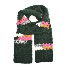 Melange Hand Crochet Scarf -  Green