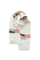Melange Hand Crochet Scarf -  White