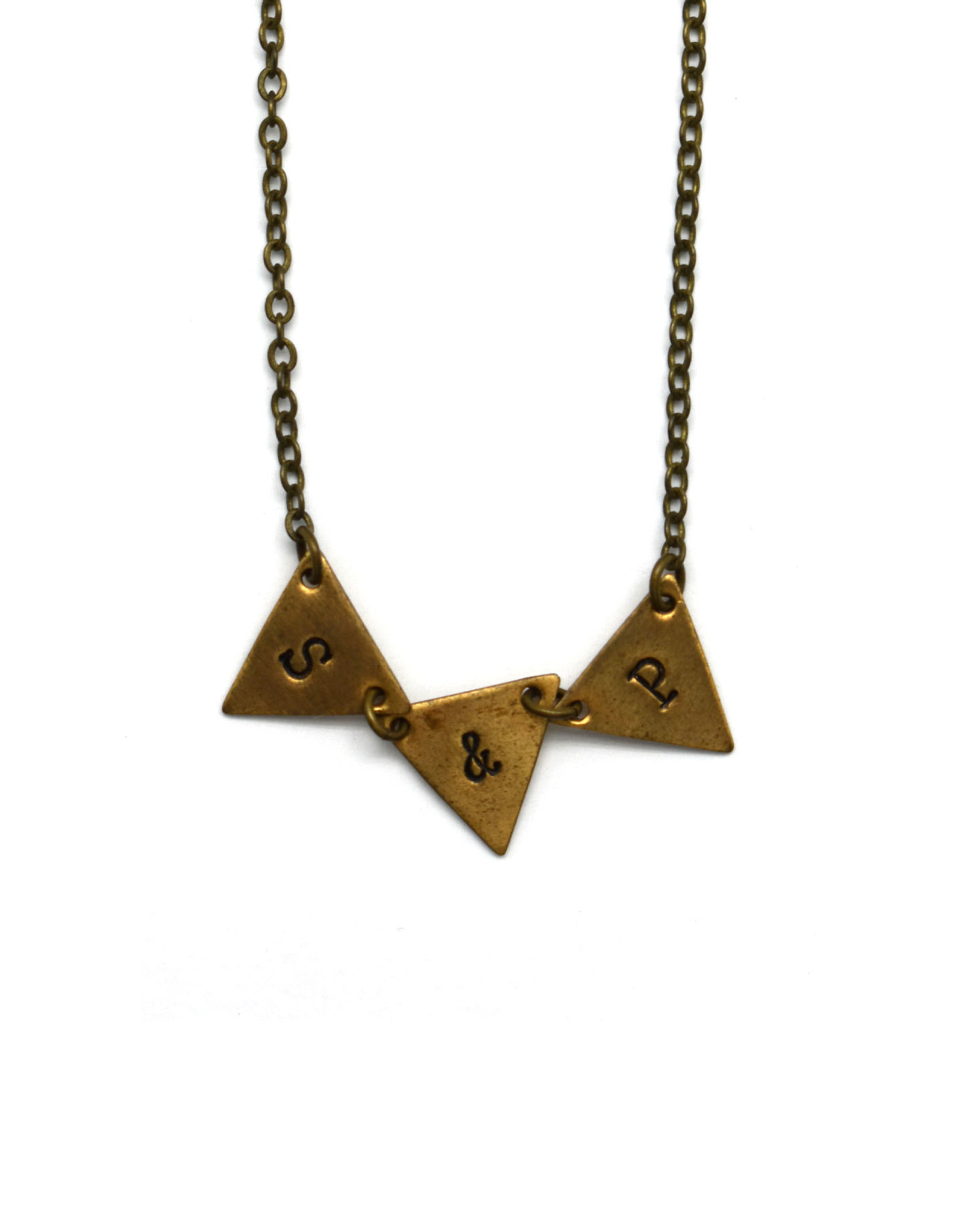 S & P Brass Bunting Necklace