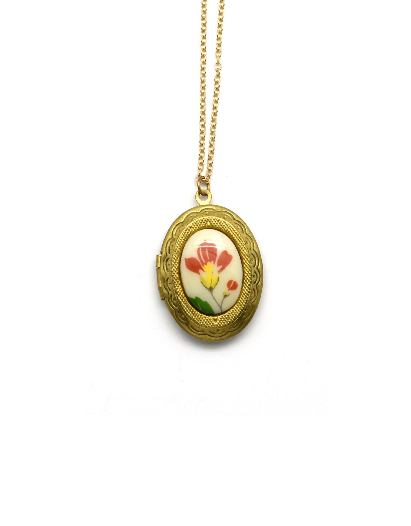Vintage Brass Floral Locket Necklace