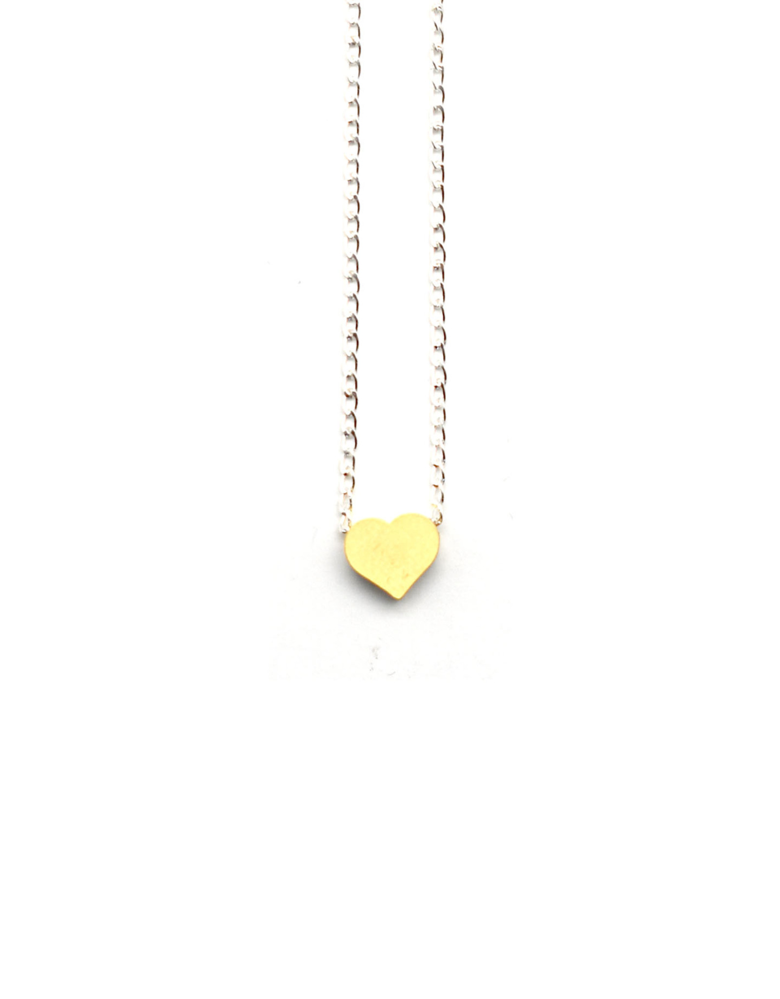 Petite Tiny Layering Heart Necklace - Gold Heart, Silver Chain
