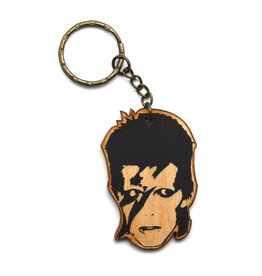 David Bowie Wooden Keychain