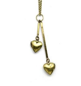 Double Heart Locket Necklace