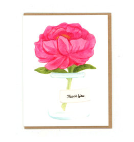 Thank You Peony Jar Greeting Card