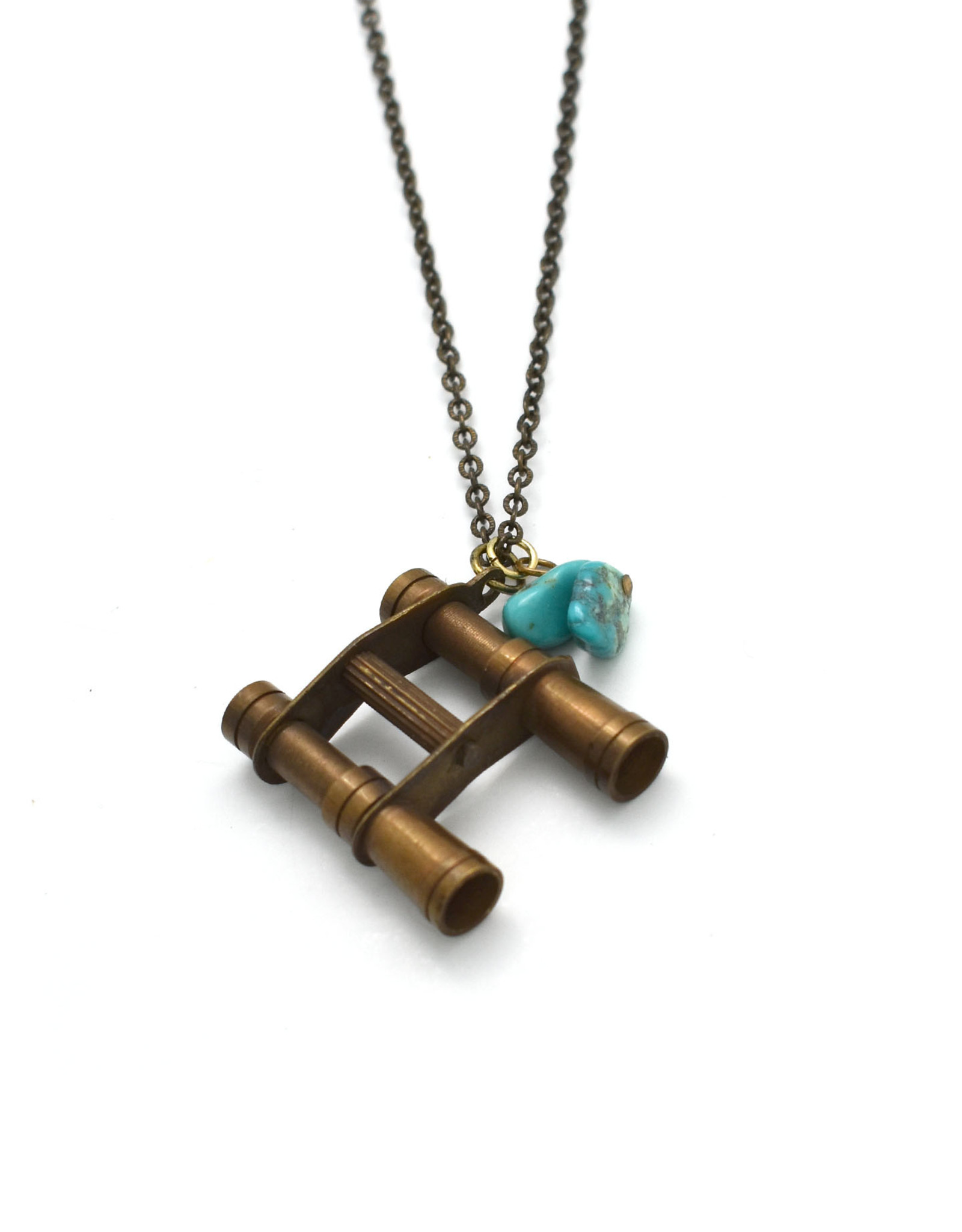 Brass Binoculars and Turquoise Bead Necklace