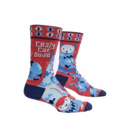 Crazy Cat Dude Men's Crew Socks