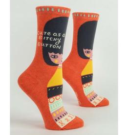 Cute As a Bitchy Button Women's Crew Socks