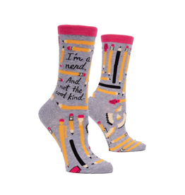 I'm a Nerd Pencils Women's Crew Socks