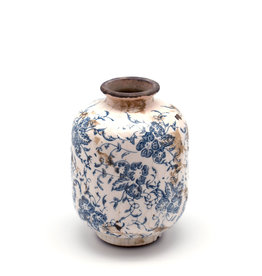 Decorative Blue & White Terracotta Vase - Short (Assorted)
