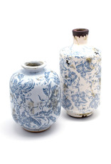 Decorative Blue & White Terracotta Vase - Tall (Assorted)