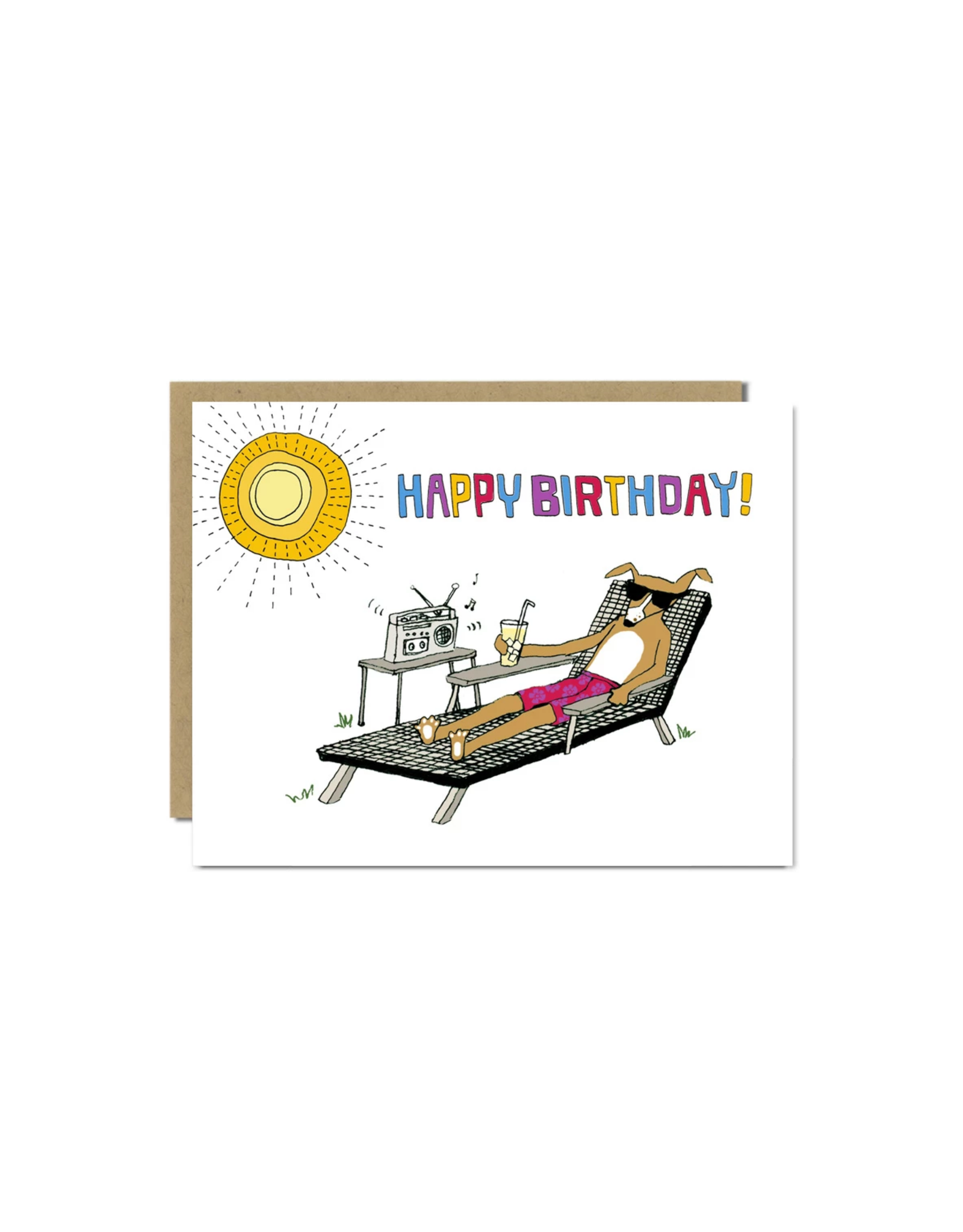 Lounging Dog Birthday Greeting Card