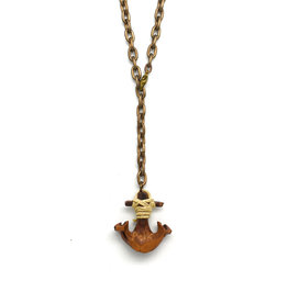 Black Walnut Anchor Necklace Large Chain