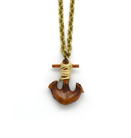 Black Walnut Anchor Necklace Small Chain