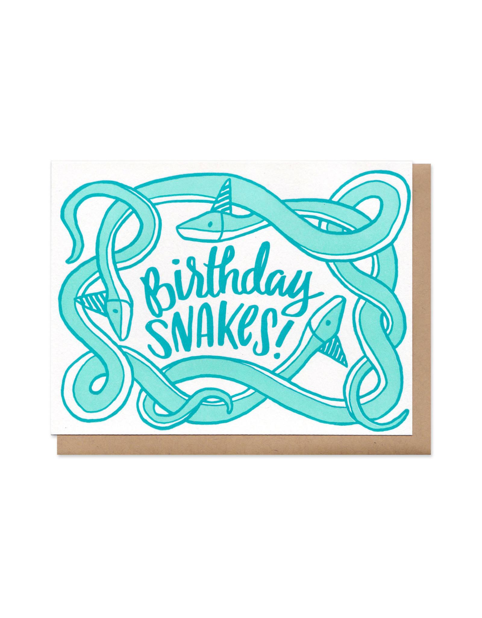Birthday Snakes! (Blue) Greeting Card