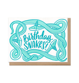Birthday Snakes! (Blue) Greeting Card