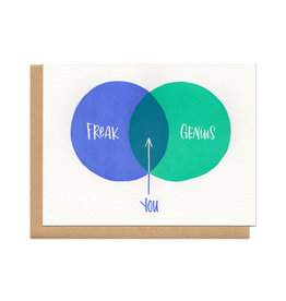 Freak + Genius = You Ven Diagram Greeting Card