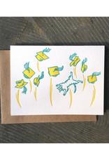 Graduation Caps/Cat (Yellow) Greeting Card