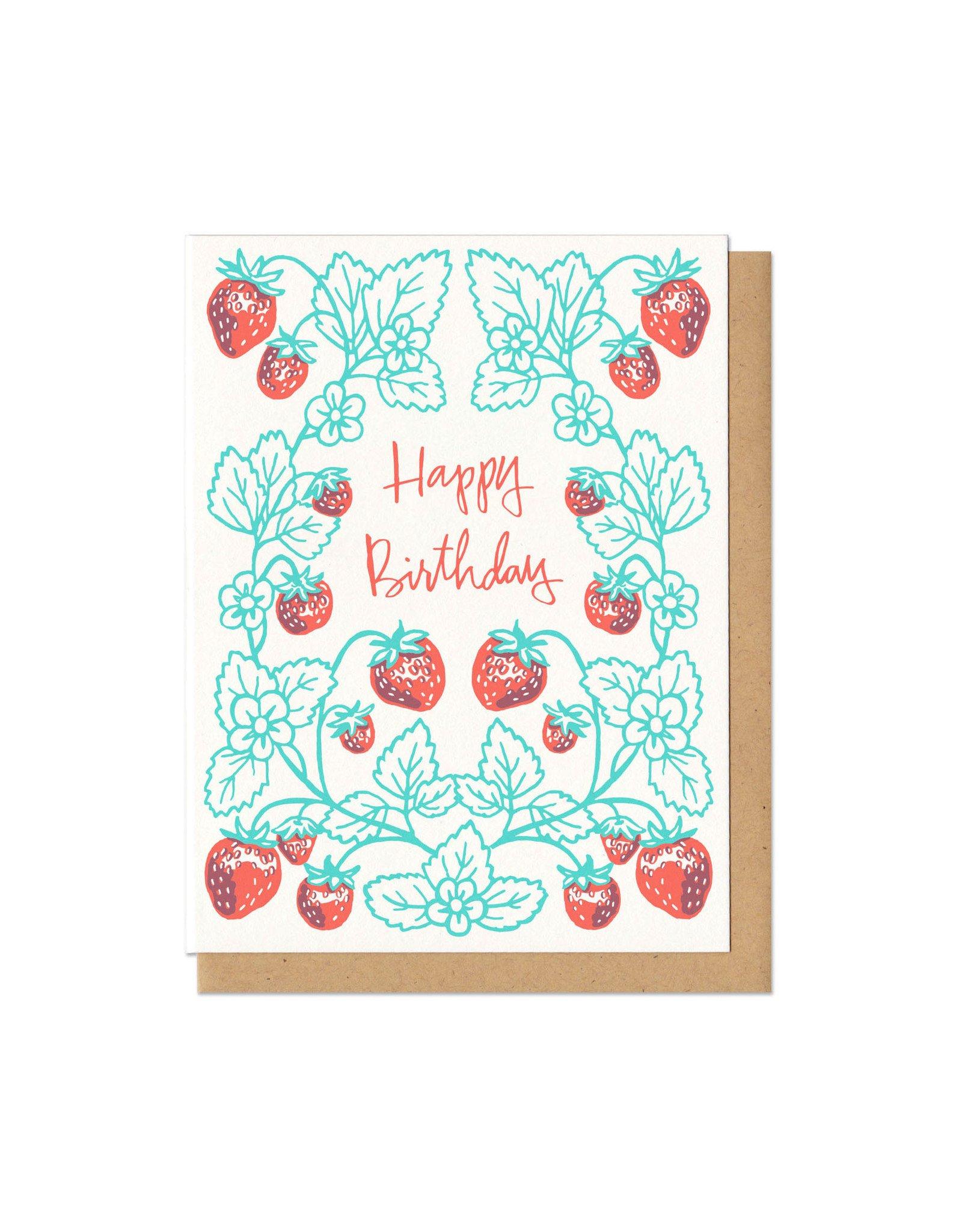 Happy Birthday Strawberries Greeting Card