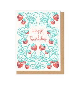 Happy Birthday Strawberries Greeting Card