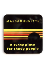 Massachusetts: A Sunny Place for Shady People Coaster (black)
