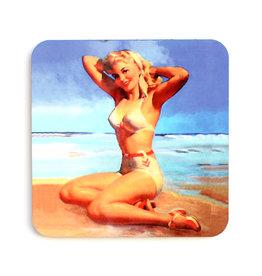 White Bikini Pin-up Coaster