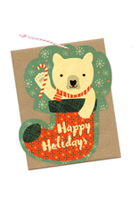 Bear Stocking Wooden Holiday Greeting Card