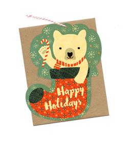 Bear Stocking Wooden Holiday Greeting Card