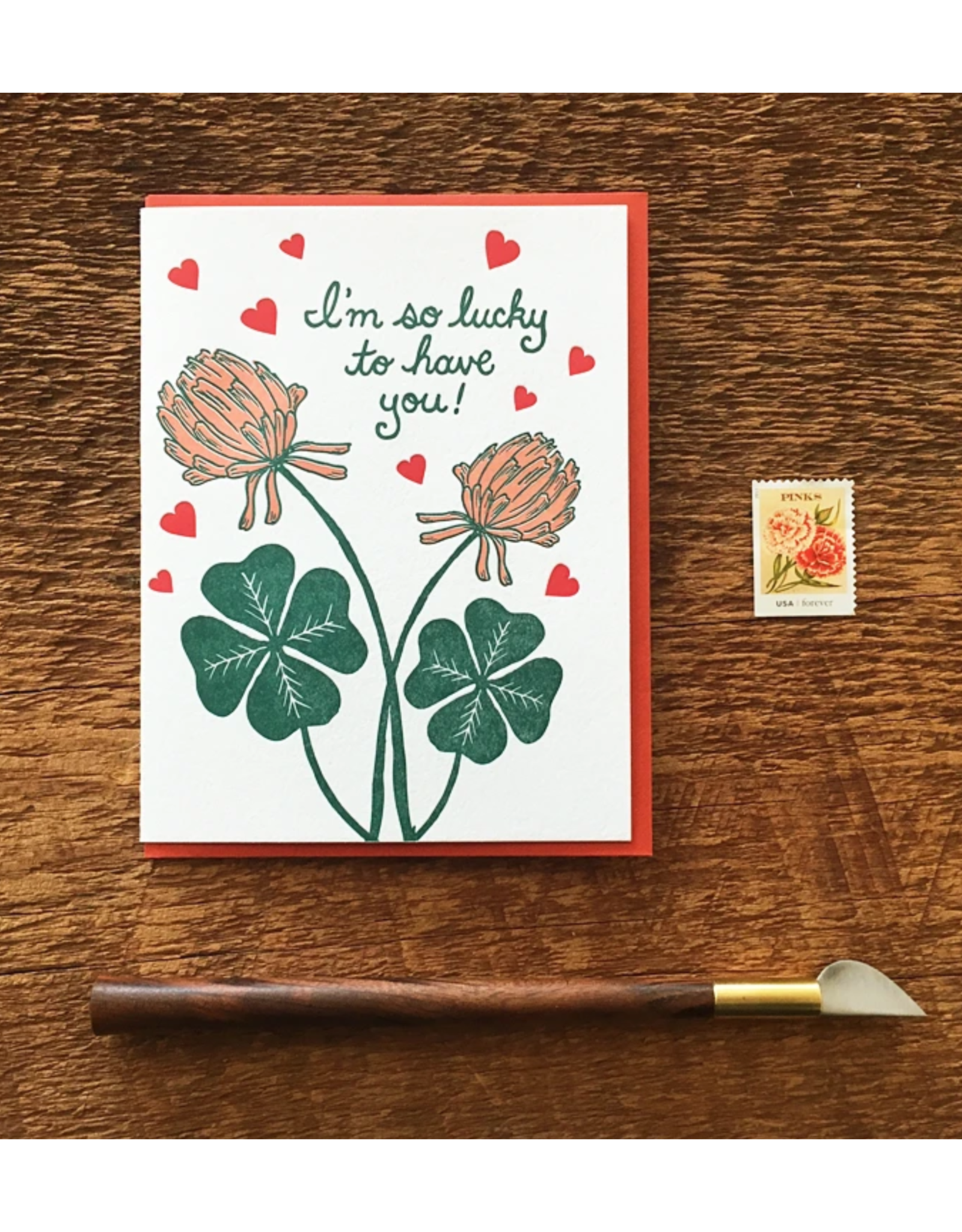 I'm So Lucky To Have You Clover Greeting Card