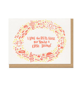 I Love The Pets First (yellow) Greeting Card